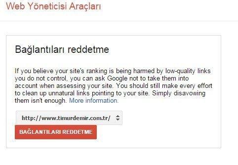 google disawow link araci